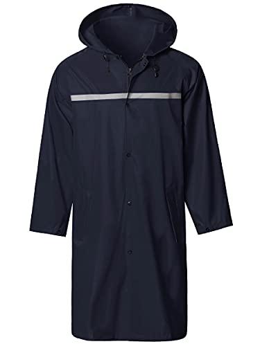 Chubasquero Impermeable Larga para Hombre Reutilizable con Capucha Poncho de Lluvia de Seguridad Azul XL