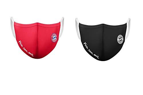 Bayern München Masken (2Stück rot+schwarz) Mund-Nasen-Schutz, MNS, Stoffmaske