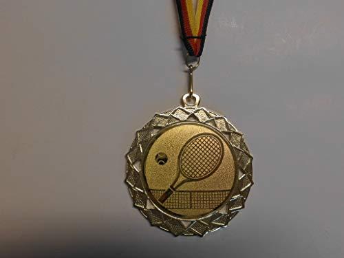 Fanshop Lünen 10 Stück Medaillen - Große Stahl 70mm - Tennis - Herren - Damen - Medaille - Tennissport - mit Alu Emblem 50mm - Gold - mit Medaillen-Band - (e111) -