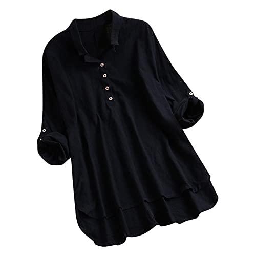 Julhold Blusa para mujer casual de lino sólido botón roll manga larga cuello en V camisa suelta top, Negro, XL