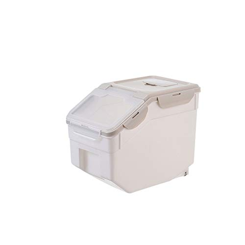 CFFCC Plastic Sealed Moisture-Proof Storage Box Kitchen Rice Container Plastic Household Grain Containers Flip Cover (Color : Beige)