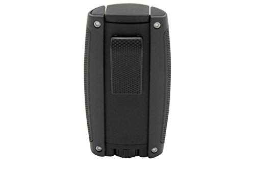Xikar Turismo Double Jet Flame Cigar Lighter, Attractive Gift Box, Pocket-Friendly, Protective Flip-Lid, Over-Sized Fuel Tank, Matte Black