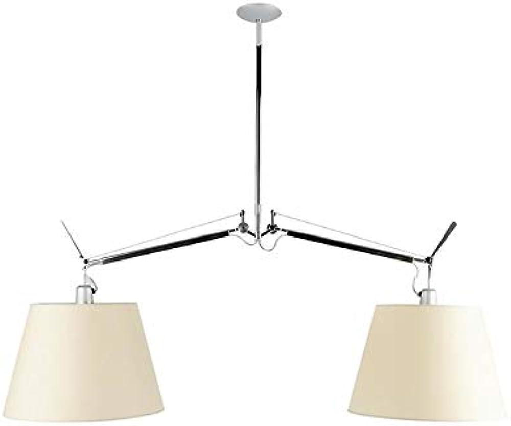 Artemide basculante a due bracci,lampada a sospensione,in alluminio,diffusore in raso o carta pergamena 0630010A