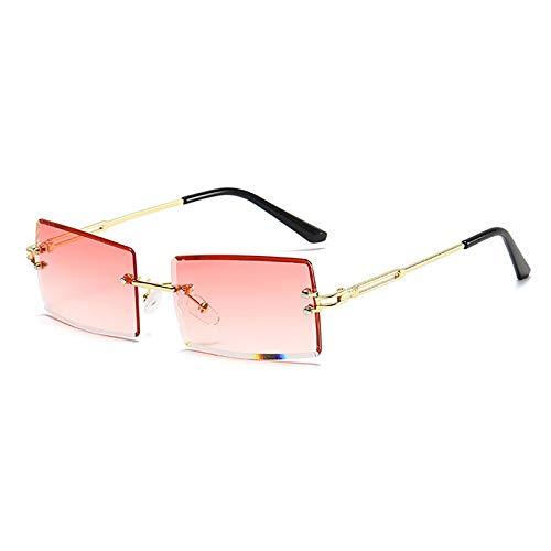 APCHY Gafas De Sol Rectangulares Retro para Mujeres Y Hombres Gafas Cuadradas Pequeñas Vintage De Moda Monturas Sin Montura Lentes Gafas Protección Ultraligera UV400,E