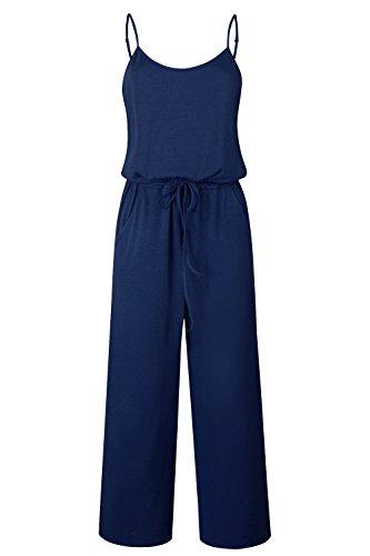 Yidarton Sommer Floral Bedruckte Jumpsuit Damen Halfter ärmellose breite Lange Hosen Jumpsuit Strampler, Dunkelblau, L