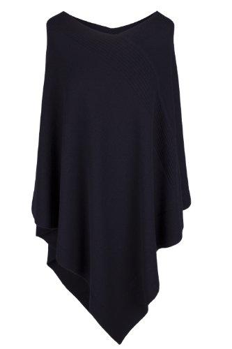 Love Cashmere Damen Designer 100% Kaschmir Poncho - 'Marinenblau' - Handgefertigt in Schottland - UVP €600