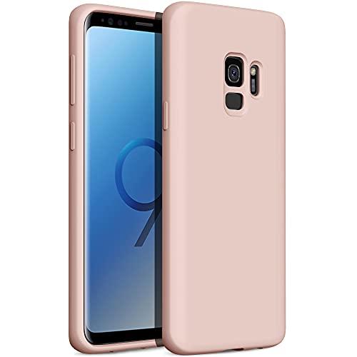 YATWIN Compatibile con Samsung Galaxy S9 Cover 5,8'', Cover per Samsung Galaxy S9 Silicone Liquido, Protezione Completa del Corpo con Fodera in Microfibra, Rosa Sabbia
