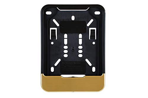 1 soporte para matrícula de seguro de 135 x 110 mm (para ciclomotores, scooters, S-Pedelec, bicicleta eléctrica, ciclomotor, rueda en L, rueda ligera) con barra de cepillado mate dorado.