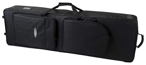 Classic Cantabile Keyboardtasche mit Rollen 129cm schwarz (robuster Gigbag, Innenmaße, 129 x 36 x 16 cm, doppelt gesponnenes und verwebtes Nylongewebe, verklettbarer Tragegriff, 2 große Außentaschen)
