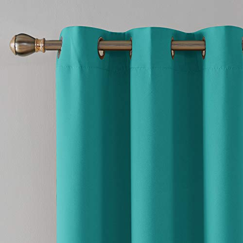 Deconovo Grommet Blackout Curtains Bedroom, Room Darkening Thermal Insulated Window Curtain, Turquoise,42x63 Inch, 1 Panel