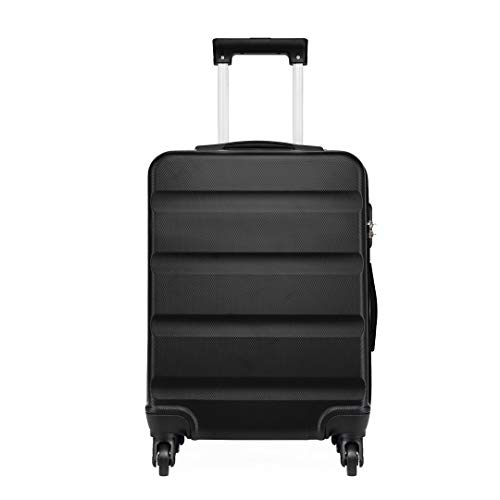 Kono Medium 24' Lightweight ABS Hard Shell Travel Hold Check in Luggage Suitcase 4 Wheels with Built in Combination Lock (M(66cm 63L), Black)