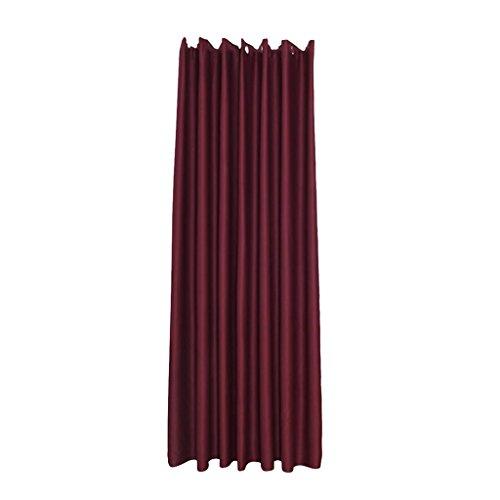 perfk Par de Cortinas Opacas Decoración de Tela de Aislamiento Térmico - Vino Tinto 140x245cm, Individual