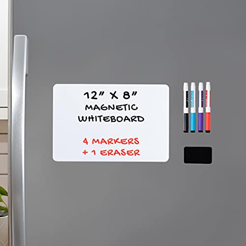 Magnetic Dry Erase Whiteboard Sheet for Kitchen Fridge: with Stain Resistant Technology - 12x8' - Includes 4 Markers and Big Eraser with Magnets - Refrigerator Grocery List White Board Organizer