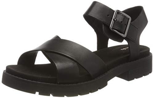 Clarks Damen Orinoco Strap Slingback Sandalen, Schwarz (Black Leather Black Leather), 38 EU