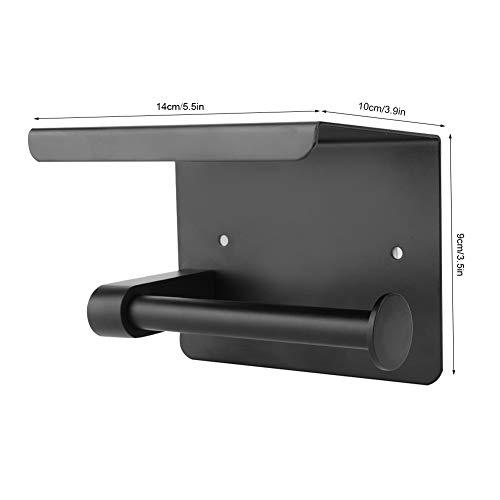 Soporte para rollo de papel, perforador para instalar Dispensador de rollo de papel negro Soporte para papel higiénico para el hogar, hotel, restaurante, bar, baño público