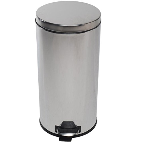 Christmas Promotion! LOHAS Home Round Step Trash Can / Dust Bin, Recycling Trash Can, Stainless Steel Dust Bin with Lid, Trash Can with Lid, 30-liter / 8 Gallon