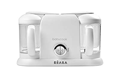 BEABA Babycook Plus 4 in 1 Steam Cooker and Blender, Cook at Home, 9.4 Cups, Dishwasher Safe, White