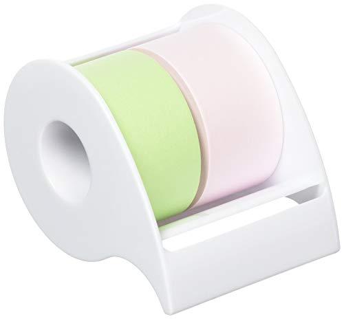 ポストイット 付箋 全面粘着ロール 25mm×10m 2巻セット(ピンク&グリーン) ディスペンサー付
