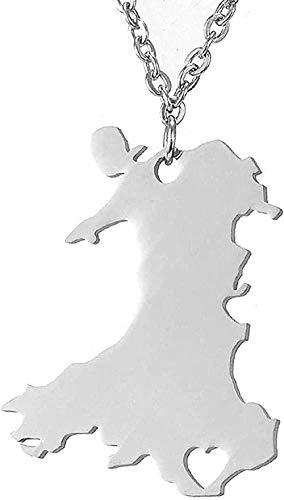 DUEJJH Co.,ltd Halskette European Travel Street Shoot Fashion Einfache glänzende Edelstahl Halskette Wales Map Anhänger