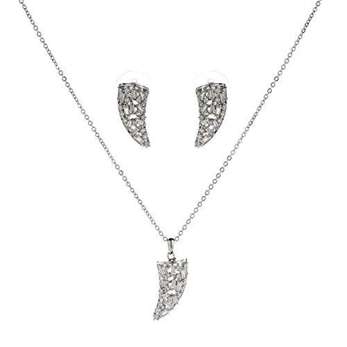 FUKAI Simple Zirconia Collar Pendiente Conjunto De Joyas Geométricas para Mujeres Fiesta Traje De Boda Plata/Oro Kits De Joyas