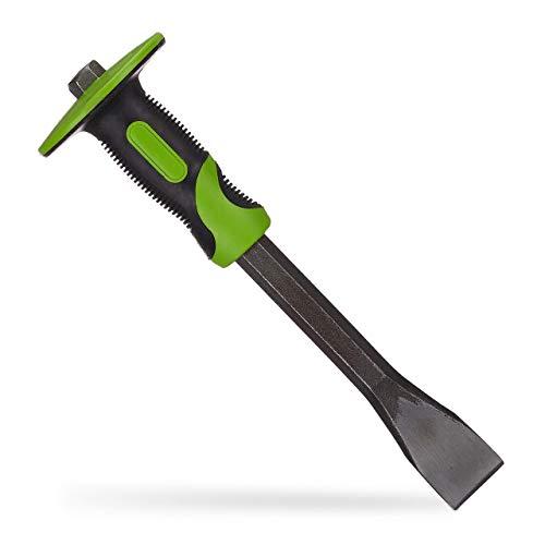 Relaxdays Flachmeißel mit Handschutz, präziser Putzmeißel, 35mm Fliesen Meißel, Stahl & Gummi, 29 cm lang, grün/schwarz