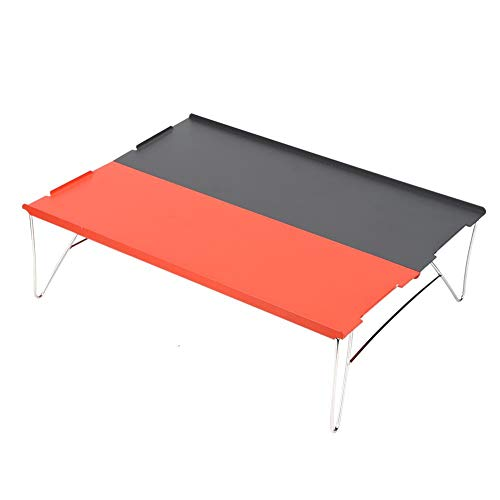 Alinory Tea Table Folding Table, Foldable Easy to Clean Mini Camping Table, for Camping Beach(Orange + dark gray combination color)