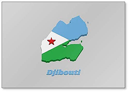 Kühlschrankmagnet, Motiv Karte & Flagge von Dschibuti