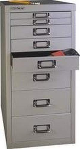 BISLEY MultiDrawer, 29er Serie, DIN A4, 8 Schubladen, 355 Silber, 38 x 27.9 x 59 cm