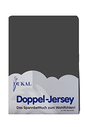 Dukal, Spannbettlaken, für runde & achteckige Matratzen! Durchmesser ca. 240-245 cm, aus hochwertigem DOPPEL-Jersey (100% Baumwolle), Farbe: anthrazit