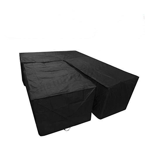 L Gartenmöbel Abdeckung Ecksofa Abdeckung V Form Heavy Duty Oxford Tuch mit Kordelzug und Aufbewahrungstasche (Schwarz)