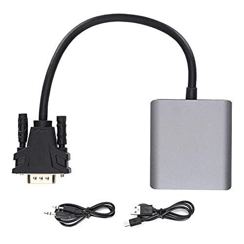 Gedourain Adaptador De Audio De Interfaz Multimedia VGA A HD, Adaptador De Audio Papel De Aluminio Adicional + Red Tejida De Aluminio Y Magnesio + Cable De Tierra para El Hogar