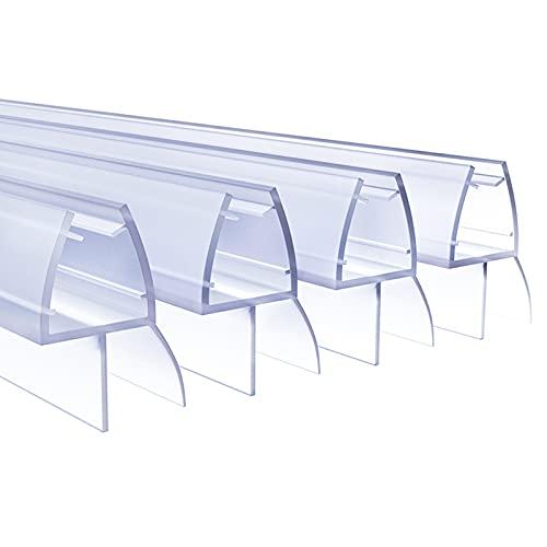 4 x 80cm Duschdichtungen für Duschtüren, 6mm 7mm 8mm Dichtung Dusche Glastür, Transparent Duschdichtung Glasdicke, Wasserabweisende Ersatzdichtung für Dusche, Schwallschutz Dichtkeder