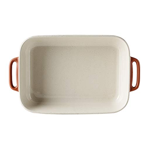 GAONAN Pan de lasaña antiadherente, bandeja para hornear de cerámica, Au Gratin Sartenes para hornear con asas, platos para hornear, plato de cazuela para cocinar, cocina, cena de pastel, banquete y u