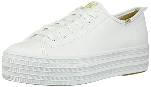 Keds womens Triple Up Leather Sneaker, White, 7 US