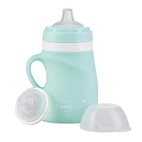 DENTISTAR® Quetsch Flasche 150 ml – Silikon Quetschi für selbstgemachten Brei, Smoothie und Obstpüree - befüllbar - Baby Trinkflasche - umweltfreundlich und wiederverwendbar - ab 6 Monate - BPA frei