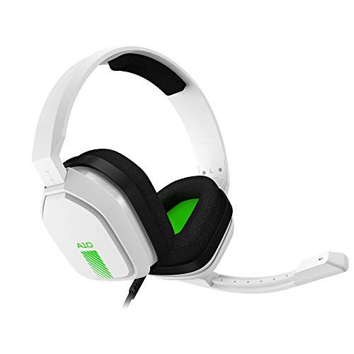 ASTRO Gaming A10 Wired Gaming Headset, Damage Resistant, ASTRO Audio, Dolby ATMOS, 3.5 mm Audio Jack, Xbox Series X|S, Xbox One, PS5, PS4, Switch, PC, Mac, Mobile - White/Green