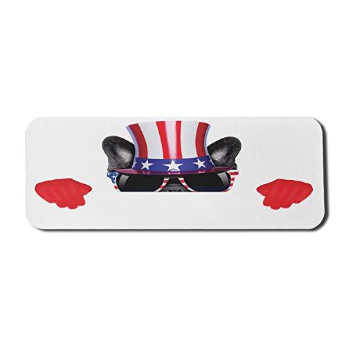4. Juli Computer Mouse Pad, lustiger Hund späht mit patriotischen Gläsern Onkel Sam Hut und Handschuhe Humor Bild, Rechteck rutschfeste Gummi Mousepad große mehrfarbig