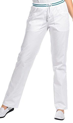 clinicfashion 10612023 Hose Damen weiß/Petrol, Strickbund mit Kordelzug, Mischgewebe, Größe 36