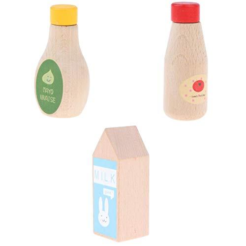 3 St. Kinder Holzspielzeug Tomaten Ketchup, Mayonnaise Condiments Flaschen Kit für Kinderküche Rollenspiel Spaß