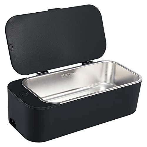 Hellery Máquina de Limpieza ultrasónica multipropósito, Limpiador electrónico de Gafas, Mini Caja de Limpieza de Joyas - Negro