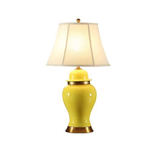 TDJJZHXYP Lámpara de Mesa de cerámica Americana Simple Amarillo Hotel Sala de Estar Dormitorio Noche lámpara Reina
