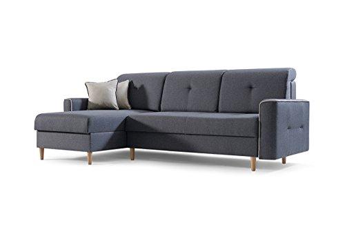 mb-moebel Ecksofa Sofa Eckcouch Couch mit Schlaffunktion und Bettkasten Ottomane L-Form Schlafsofa Bettsofa Polstergarnitur MIKA (Dunkelgrau, Ecksofa Links)