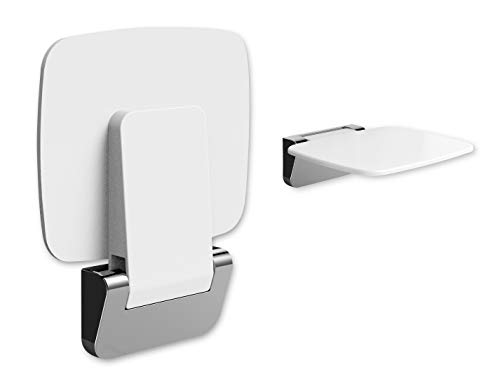 XKX Folding Shower Seat, Wall Mounted Shower Chair for Elderly, Stylish Tile Shower Bench for Inside Shower, Clear Bathroom Foldable Shower Stool Shower Accessories for Home Improvement