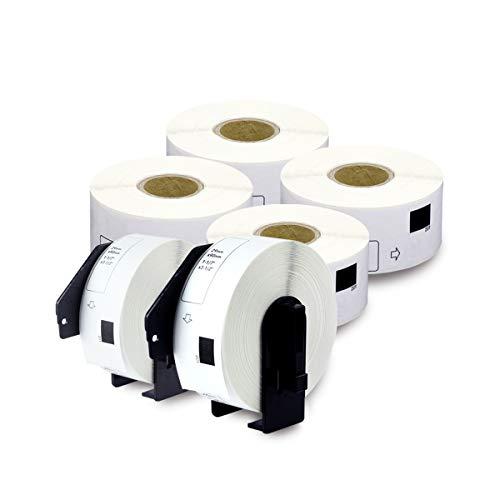 enKo - Etiquetas de repuesto compatibles DK-1201 para dirección estándar 1-1/7' x 3-1/2', compatible con impresoras de etiquetas Brother QL [6 rollos/2400 etiquetas con 4 cartuchos recargables]