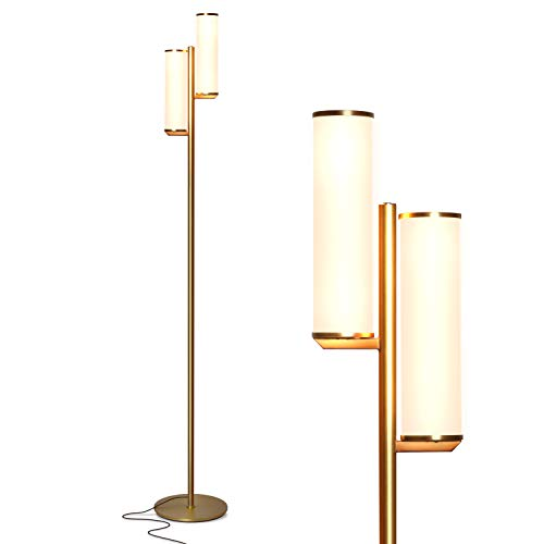 Brightech Gemini - Mid Century Modern Two Light Floor Lamp for Living Room Bright Lighting - Contemporary Dimmable LED Standing Light for Bedrooms &...