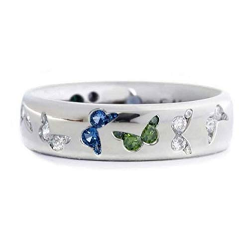 Kyoidy Multicolor Rhinestone Butterfly Imitation Gem Crystal Wedding Rings Personality Lovely Finger Ring for Women,Blue Green,Size 6