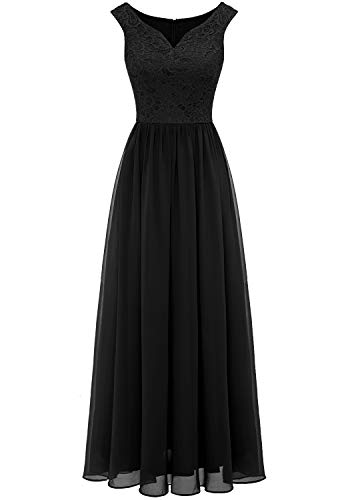 Aupuls 0070 Elegant Abendkleid Spitzen Maxi Chiffonkleid V-Ausschnitt Bodenlang Kleid Schwarz XL