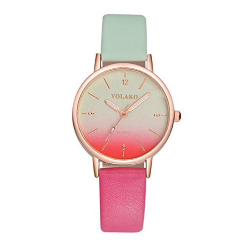HBR Reloj Señoras Reloj Fino Casual de Cuero de Lujo de Reloj de Cuarzo Mujer Reloj Pulsera Accesorios de Moda (Color : Purple)