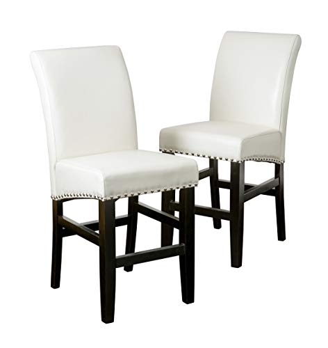 Christopher Knight Home Lisette Leather Counter Stools, 2-Pcs Set, Ivory