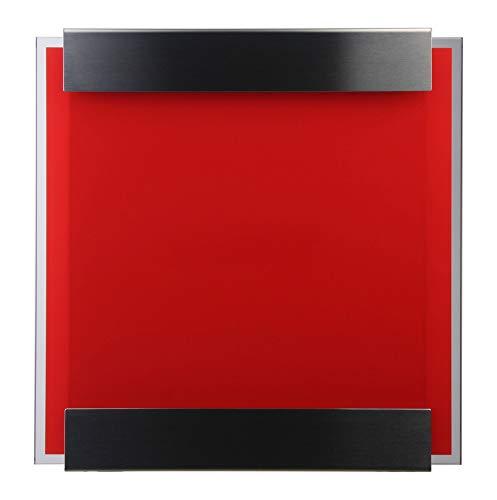 Keilbach, Briefkasten glasnost.glass.red, Edelstahl/bedrucktes Sicherheitsglas, hochwertige Verarbeitung, Klassiker seit 2000, Design Award: FORM 2001